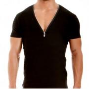 Modus Vivendi Zipper V Neck Short Sleeved T Shirt Black 02941