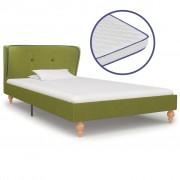 vidaXL Легло с матрак от мемори пяна, зелено, плат, 90x200 см