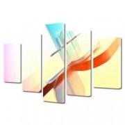 Tablou Canvas Premium Abstract Multicolor Luminos Rosu-Albastru Decoratiuni Moderne pentru Casa 120 x 225 cm