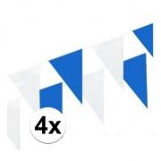Merkloos 4x Blauw en witte vlaggenlijnen 10 meter