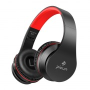 PICUN B16 Over-ear Bluetooth 5.0 Stereo Headphone with Microphone Support TF Card / Aux-in - Black / Red