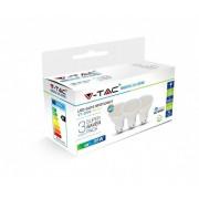 V-TAC GU10 5W 400lm 4000K 110 ° LED-izzó opál 3 db-os csomagban
