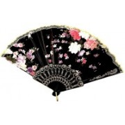 A&R Handicraft Foldable Floral Print Black Hand Fan(Pack of 1)
