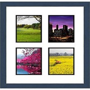 """Frames by Mail multimat-58722-108 Four Square Opening Collage Frame for 3.5"""" x 5"""" Photo, Navy Blue"""