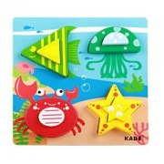 ELECTROPRIME Kids Colorful Sea Life Chunky Wooden Puzzle Jigsaw Puzzles Intellectual Toy