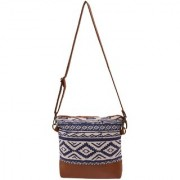 Suprino Beautiful printed cotton canvas cross body bag for Girls and women ( blue colour )