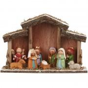 Merkloos Kerststal met 8 kerststal figuren/beelden 30 cm
