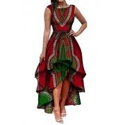 ARTFFEL-Women Fashion African Dashiki Print Sleeveless High-Low Cocktail Dress 2 M