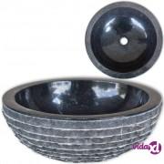 vidaXL Mramorni umivaonik 40 cm crni