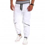 Hombres Casuales Pantalones Sueltos de Deportes Empalmados Color de Contraste Pantalones Deportivos del Invierno y Otoño blanco