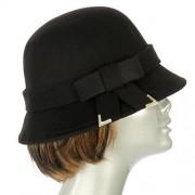 fashion2100 Poly felt bucket hat with bow Black