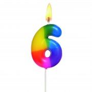 Lumanare aniversara, cifra ''6'', curcubeu, HERLITZ