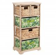 CARO-Möbel Kommode ADELFIA mit 2 Boxen und 3 Körbe natur/grün