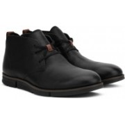 Clarks Trigen Mid Black Leather Boots For Men(Black)