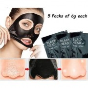 5 Pcs Pack Blackhead Peel-off Mask Whitehead Remover Charcoal Anti Tan Deep Cleansing Purifying Acne Treatment