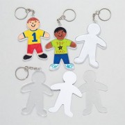 Design your own Keyrings - 6 person shaped keyrings. Each comes with paper inserts to add your own designs. Size 8cm including keychain.