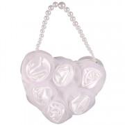 Tasje hartvorm met bloemen wit