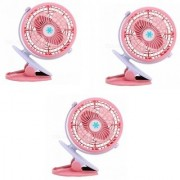 SUREELEE Set of 3 360 Degree Rotate Rechargeable Clip Handy Mini USB Fan (PINK)