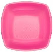 Plato de Plastico Hondo Fucsia Square PP 180mm (300 Uds)