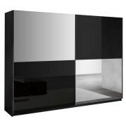 IB Living Kledingkast Kenzo 230 cm breed - Hoogglans zwart met spiegel