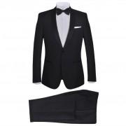 vidaXL Мъжки смокинг костюм от 2 части, 50 размер, черен
