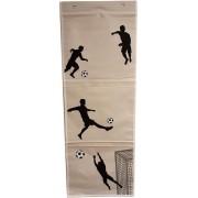 Wandorganizer Voetbal - Beige / Zwart - 36.5 x 97 cm - Rechthoek - Kinderkamer