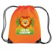 Bellatio Decorations Leo de Leeuw trekkoord rugzak / gymtas oranje voor kinderen