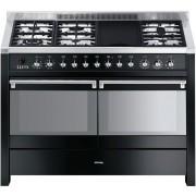 Aragaz SMEG Opera A4BL-8, 120X60cm, 6 arzatoare + gratar BBQ, cuptor dublu electric, timer, aprindere electronica, pizza, negru