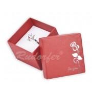 Piros színű ékszerszett tartó doboz, rózsa mintával