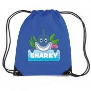 Bellatio Decorations Sharky de haai trekkoord rugzak / gymtas blauw voor kinderen