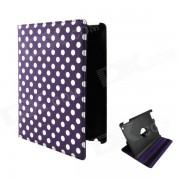 Funda protectora de cuero de la PU con 360 grados de rotacion para ipad 2/3/4 - violeta + blanco