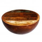 vidaXL Маса с формата на купа, стоманена основа, регенерирано дърво