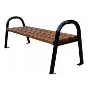"""SITZBANK """"MODERN"""", aus Massivholz (Fichte) und solidem Stahlrohr, lackiert, 180 cm lang. - 180"""