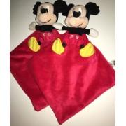 Doudou Souris Mickey Mouse Rouse Rouge Noir Mouchoir Nicotoy Disney Simba Toys Benelux Lot De Deux Doudous Peluches Mickeys Mouchoirs Rouges Noirs Cadeau Eveil Naissance Garcon Mixte