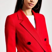 River Island Womens Red double-breasted boyfriend blazer (10)