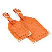 Set of 2 Luggage Tags Orange Lizard