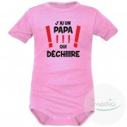 SiMEDIO Body bébé original : j'ai un PAPA qui déchire - Rose Courtes 2-3 mois