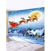 Rosegal Tapisserie Art Murale de Noël Cerf et Père Noël Imprimés Largeur 91 x Longueur 71 pouces