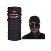 Merkloos Zwart biker masker horror/eng gezichtprint voor volwassennen