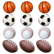 Football Toys for Kids Party Favor 12 Pack Foam Stress Balls American Footballs Rugby Squeeze Sports Ball (3 Footballs + 3 Basketballs + 3 Soccer Balls + 3 Baseballs)