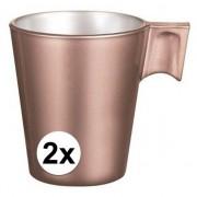 Luminarc Espresso mokje rose goud 2 stuks