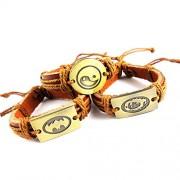 eshoppee yin yang , bob marley , batman leather bracelet wrist band bracelet set of 3 for man and women