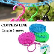 Evershine 3.5 Meters Windproof Anti-Slip Clothesline Drying Nylon Rope with Hooks - Colours May Vary pack of 3