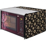 Glassiano Yellow Floral Printed Microwave Oven Cover for Samsung 28 Litre Convection Microwave Oven MC28H5025VB/TL Black