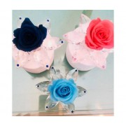 ROSABELLA® Cristal Design Ninfea 6 Petali Con Strass E Rosa - Ros-Stab-Cris-Ninf
