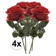 Bellatio flowers & plants 4x Rode rozen Simone kunstbloemen 45 cm