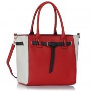Kabelka LS00330 - Red / White Tote Handbag Features Buckle Belts