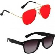 Lee Topper Aviator, Wayfarer, Round Sunglasses(Red)