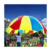 7m Children Outdoor Game Exercise Sport Toys Rainbow Umbrella Parachute Play Fun Toy with 32 Handle Straps for Families / Kindergartens / Amusement Parks