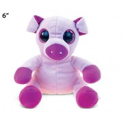 Puzzled Pig Big Eyes Soft Stuffed Plush Cuddly Animal Toy - Animals / Wild Farm Theme 6 Inch (5236)
